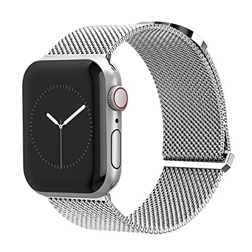 Compatible con correas de Apple Watch de 44 mm/42 mm para iWatch Series 6, 5, 4, 3, 2, 1, SE – Correa de lazo magnético ajustable de malla de acero inoxidable (plateada)