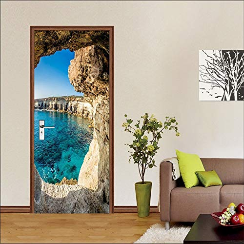 Grotto Door Mural Wall Sticker Murals Decals Living Room Nursery Restaurant Hotel Café Office Removable Self-Adhesive Stickers, 30.3'x78.7'(77x200cm), 2 Pieces Set