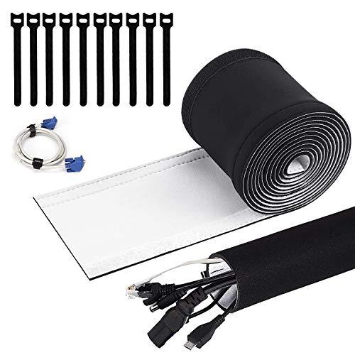 Organizador de cables de neopreno con cierre de velcro de 3 m, con 10 bridas de velcro, organizador de cables para escritorio y TV (negro/blanco), protector de cables familiar.