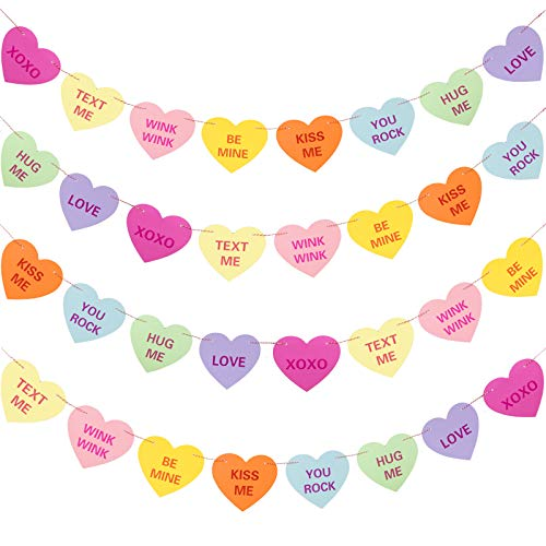 Whaline Valentine's Day Paper Heart Banner Garland Candy Heart String Garland Multicolored Heart Hanging Banner Hanging Heart Shaped Ornaments for Anniversary,Wedding,Valentines Party Decor(2 Strings)