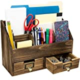Rustic Wood Office Desk Organizer: Includes 6 Compartments and 2 Drawers to Organize Desk...
