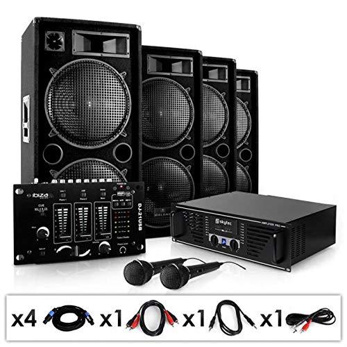 ElectronicStar Bassbrigade USB Equipo PA Amplificador Altavoces Mesa de Mezclas