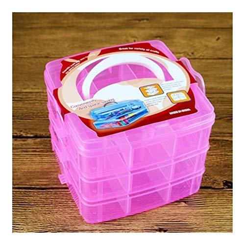 JSNRY 3 Compartments Plastikkasten Korn Lagercontainer Craft Bequem und praktisch (Color : Pink)