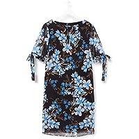Marca Amazon - TRUTH & FABLE Vestido Evasé de Gasa Mujer, Multicolor (Teal Floral), 38, Label: S