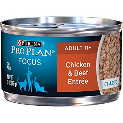 Purina Pro Plan Senior Pate Wet Cat Food, FOCUS Chicken & Beef Entree - (24) 3 oz. Pull-Top Cans