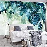 Fotomurales Mural Decoración de pared Patrón de hoja de pluma azul Moderna Fotográfico Papel Pintado Salón Dormitorio Despacho Pasillo Decoración murales 250x175cm