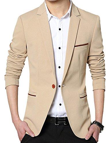 DAVID.ANN Men's Slim Fit Suits Casual One Button Flap Pockets Solid Blazer Jacket,Khaki,Medium
