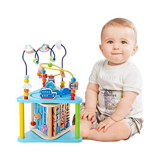 Baobë Holzwürfel Spielzeug für Kinder Motorikwürfel Holzspielzeug mit Musik Pädagogische Perle Labyrinth für Kinder, Sea World 4-in-1, Aktivitätswürfel Spielzeug Geschenk