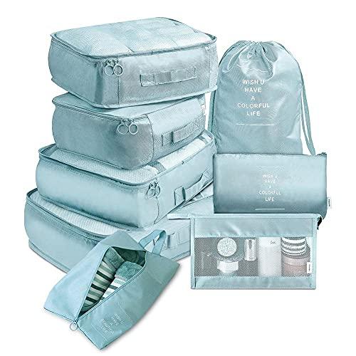 Huakaimaoyi Juego de 8 cubos de viaje multifunción, organizador de equipaje impermeable, juego de maleta de compresión para viajes en negocios