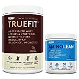 TrueFit Protein Powder (Chocolate 2 LB) with AminoLean Pre Workout Energy (Blue Raspberry 30 Servings)