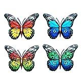 Decoración de Arte de la Pared de la Mariposa, Pintura a Mano Metal Vintage Conjunto de Mariposas de 4, Mariposa Colgante de Pared decoración de Pared Colorido jardín esculturas de Pared para jardín