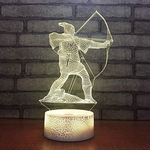3D Visual Illusion Lampe Wechsel Nachtlichter für Home Decor Schlafzimmer Acryl Led Art Bogenschießen-Keine Fernbedienung
