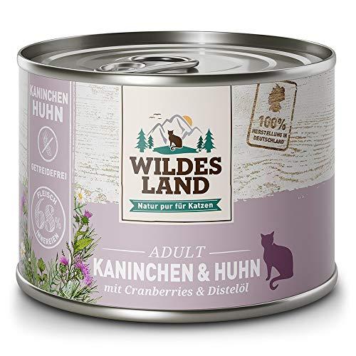 Wildes Land | Nassfutter für Katzen | Nr. 4 Kaninchen & Huhn | 6 x 400 g | Getreidefrei | Extra viel Fleisch | Beste Akzeptanz und Verträglichkeit