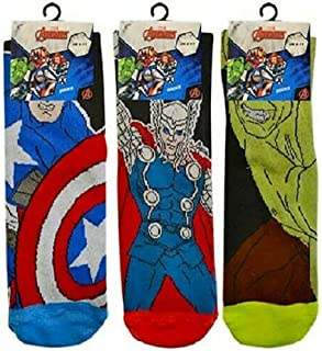 3 Pairs of Mens Marvel Avengers Character Novelty Socks. Adult Shoe Size 6-11