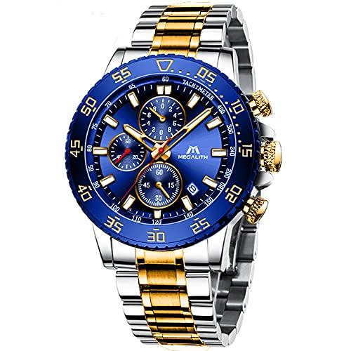 MEGALITH Reloj Hombre Cronografo Acero Inoxidable Oro Reloj de Pulsera Esfera Grande Azul Analógico Relojes Impermeable Luminoso Fecha