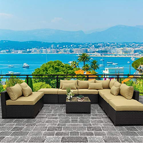 VALITA Patio PE Wicker Furniture Set 10 Pieces Outdoor Black Rattan Sectional Conversation Sofa Chair with Olive Green Cushions
