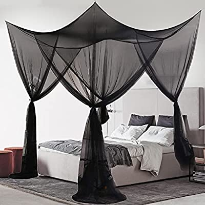 MORDEN MS 4 Corner Post Bed Canopy, Large Mosquito Net Bedroom Canopy Curtains Fits All Cribs and Bed for King Size, Queen Size Bed, Kids Rooms, Baby Bassinet(Black by MORDEN MS