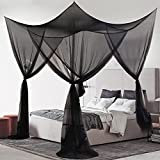 MORDEN MS 4 Corner Post Bed Canopy, Large Mosquito Net Bedroom Canopy Curtains Fits All Cribs and Bed for King Size, Queen Size Bed, Kids Rooms, Baby Bassinet(Black