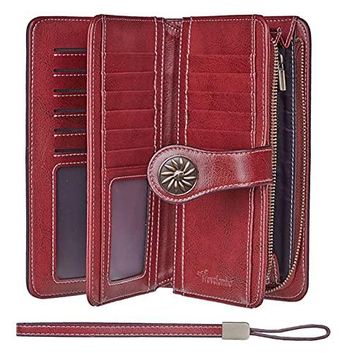 Travelambo Womens Large Capacity RFID Blocking Genuine Leather Wallets(Wine Red)