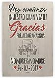 Enkolor/Cartel Boda Madera/Personalizado/Artesanal/Diseña tu Cartel/Gracias...