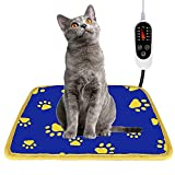 Pet Heating Pad, Waterproof Dog Heating Pad Mat for Cat with 5 Level Timer and Temperature, Pet Heated Warming Pad with Durable Anti-Bite Tube Indoor for Puppy Dog Cat (Blue Paw, 18' X 18')