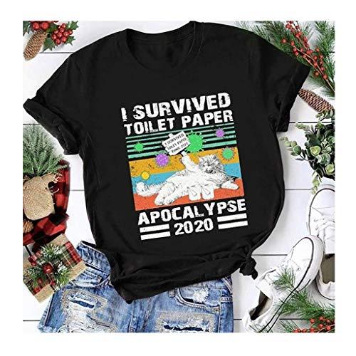 2020 Vi-rus Collection I Survived Toilet Paper Cat Letter Print COVID 19 Short Sleeve, Unisex T-Shirt (Color : Black, Size : L)