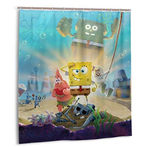 YANPING Spongebob Duschvorhang DIY Lustig wasserdicht Keine Verformung Qui-Trocknen Badezimmer Duschvorhänge, mit 12 Ptic Haken