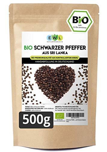 Schwarzer Pfeffer Bio Ganze Pfefferkörner schwarz in kontrollierter Bio Qualität aus Sri Lanka Pfeffermühlen geeignet Abgefüllt und kontrolliert in Deutschland Premium Gewürz