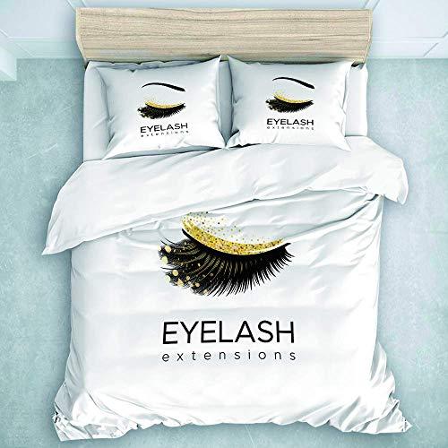Bettbezug-Set, Wimpernverlängerung Make-up in Modern Eye Beauty Augenbrauen Kosmetik, Keine Bettdecke KEIN Blatt 3 Stück