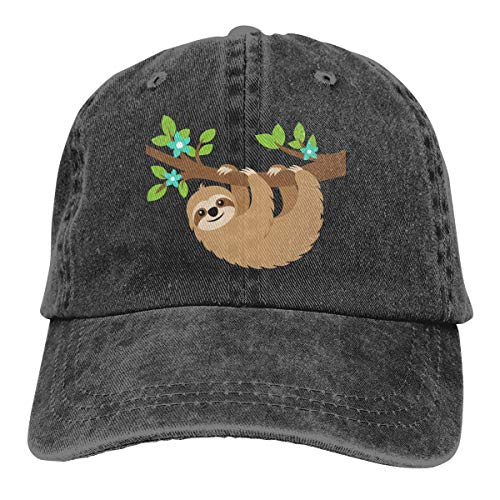 Waldeal Women's Sloth On The Tree Baseball Caps Adjustable Vintage Distressed Funny Dad Hats Gifts Black