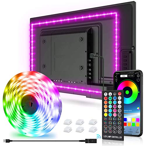 New Fi LED Strip Lights,9.8ft Tv Led Backlight for 32-75 inch TV, PC, Mirror with 40 Keys Remote and APP Control, RGB 5050 DIY Colors TV LED, 28 Scene Modes, Music Sync (9.8ft-2)