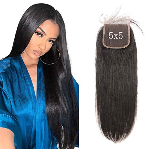 5x5 Lace Closure 5 zoll Top Lace Only Deep Free Part mit Baby Hair Brasilianische Straight Remy Menschliches Haar Natural Color Grade 9a Next Day Delivery For Amazon Prime 12 zoll