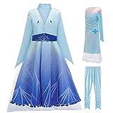 LOBTY Disfraz de Princesa Elsa, Vestido de Princesa de Nieve, Copo de Nieve, Vestido de Tul + Abrigo + Pantalones + Accesorios para Navidad, Carnaval, cumpleaños, Fiesta