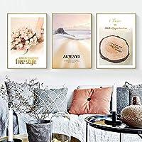 ピンクの花の風景壁アートキャンバスポスター絵画TreeRingプリント壁の写真リビングルーム北欧の装飾家の装飾40x60cmx3フレームなし