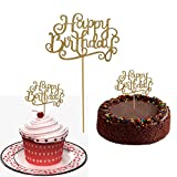 10 Gold Glittery Happy Birthday Cake Toppers. Sparkling Gold Glittery Birthday Cupcake Picks. Cake Smash Birthday Party Decorations, Candle Alternative Set Of 10. By Premium Disposables.