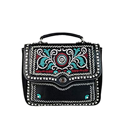 Montana West Leather Embroidered Collection Top Handle Satchel For Woman Crystal Studs Handbag Western Shoulder Bag
