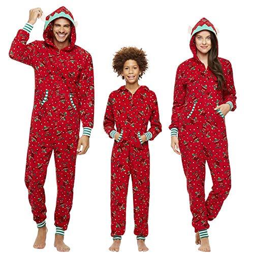 Pijamas Navidad Familiar Algodon Mono Pijamas Parejas e Hijos Trajes Navideños Pelele con Cremallera e Capucha Conjunto Mama Papá y Bebe Ropa de Dormir Invierno Christmas Pajamas SYSDJDS19888BAL
