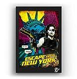 Snake Plissken de la película 1997 Rescate en Nueva York de John Carpenter - Pintura Enmarcado Original, Imagen Pop-Art, Impresión Póster, Impresion en Lienzo, Cuadro, Cómics, Cartel de la Película