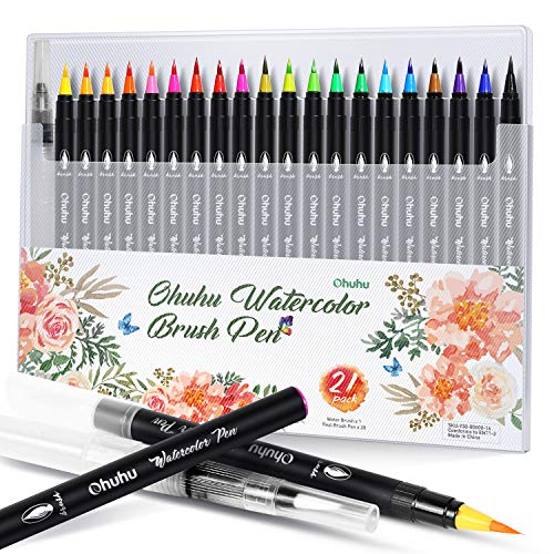 Ohuhu Watercolor Brush Markers Pen Set of 20, Water Based Drawing Marker Brushes W/A Water Coloring Brush, Water Soluble for Adult Coloring Books Comic Calligraphy Mother's Day Back to School Gift