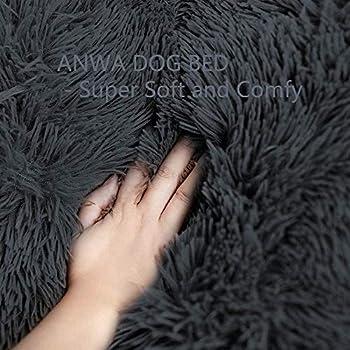 Lit pour chien Coussin de matelas amovible pour caisse de chien Fluffy Grand lit pour chien Soft Puppy Sofa Coussin de caisse de luxe pour grands chiens de taille moyenne (XXL-120x90cm,Gris foncé)