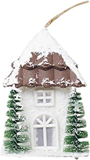 Hot Sale!DEESEE(TM))❦❦Wood House Christmas Pendant Tree Decorations Ornaments Luminous Cabin House (Brown)