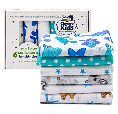 Clevere Kids Mulltücher | 6er-Pack | bedruckt | OEKO-TEX | doppelt gewebt | 70x80 | Spucktücher (Jungs)