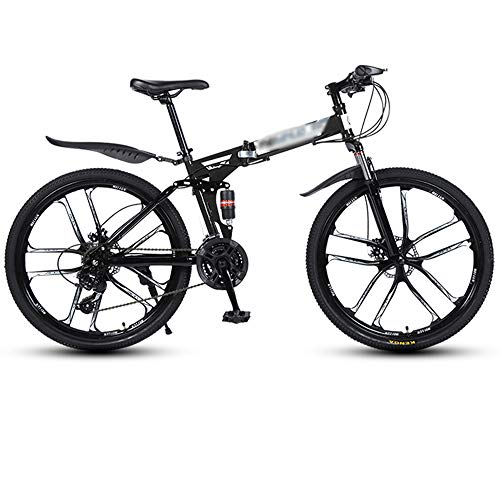 WXLSQ Folding Mountain Bike 26' 27 velocità Outroad Mountain Bike Full Suspension MTB Bici da Strada Bike Racing di Biciclette per Adulti Teens Outdoor Ciclismo,Nero