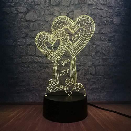 Liefde Hart Ballon 3D LED USB-lamp huwelijk huis decoratie kleurrijk nachtlampje geschenk romantische gadget meisje verjaardagscadeau