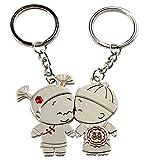 SanGood 1 Paar Romantisch Schlüsselbund Metall Süße Liebe Anhänger Schlüsselbund Schlüsselanhänger zum Hochzeitstag Valentinstag Frauen Männer Geschenk