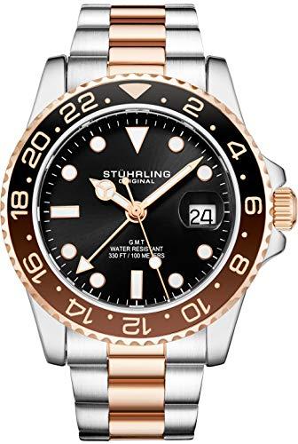 Stuhrling Original Herren Edelstahl Dreireihiges Armband GMT Uhr - Schweizer Quarz, Dual Time, Quickset Datum mit verschraubter Krone, wasserdicht bis 10 ATM (Two Tone Rose Gold)