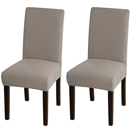 Turquoize Chair Covers for Dining Room Parsons Chair Slipcover Stretch Dining Chair Covers Set of 2 Removable Kitchen Chair Covers Chair Protector Covers for Dining Room, Hotel, Ceremony (2, Taupe)