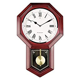 Old-Fashioned Wall Clock, Battery Operated Quartz Wood Pendulum Clock, Silent Wooden Schoolhouse Regulator Design Decorative Wall Clock Pendulum for Living Room Kitchen 18 x 11.25""