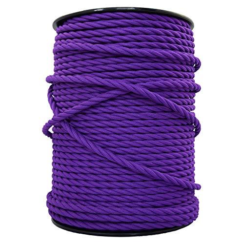 smartect Lampenkabel aus Textil in der Farbe Lila - 2 Meter Textilkabel - 3-Adrig (3 x 0.75mm²) - Textilummanteltes Stromkabel für DIY Projekt