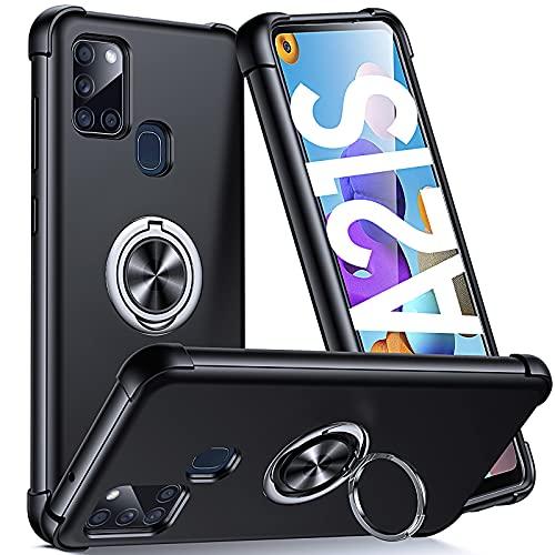 Supdeal Compatible con Funda Samsung Galaxy A21S (6,5'), Carcasa Posee Anillo Magnético Prueba de Golpes de 360 Grados Resistente Rayones, Protección Cubierta del Soporte, Negro